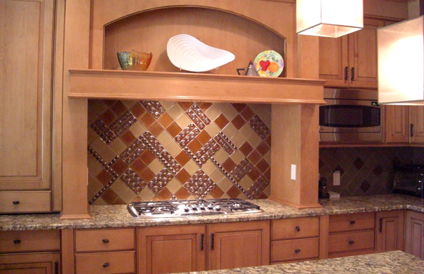 This photo features a Viennese inspired backsplash pattern from the early 20th century made of all glass.