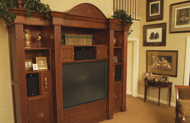 We built this cabinet to accommodate a television and music equipment before the newer products in today's world were available. This simple design remains classic.